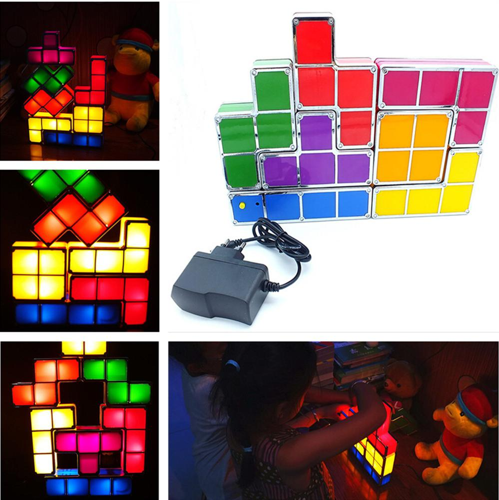 DIY Tetris Puzzle Light Stackable LED Desk Lamp Constructible Block Night Light 3D Retro Game Tower Lamp Baby Colorful Brick Toy image