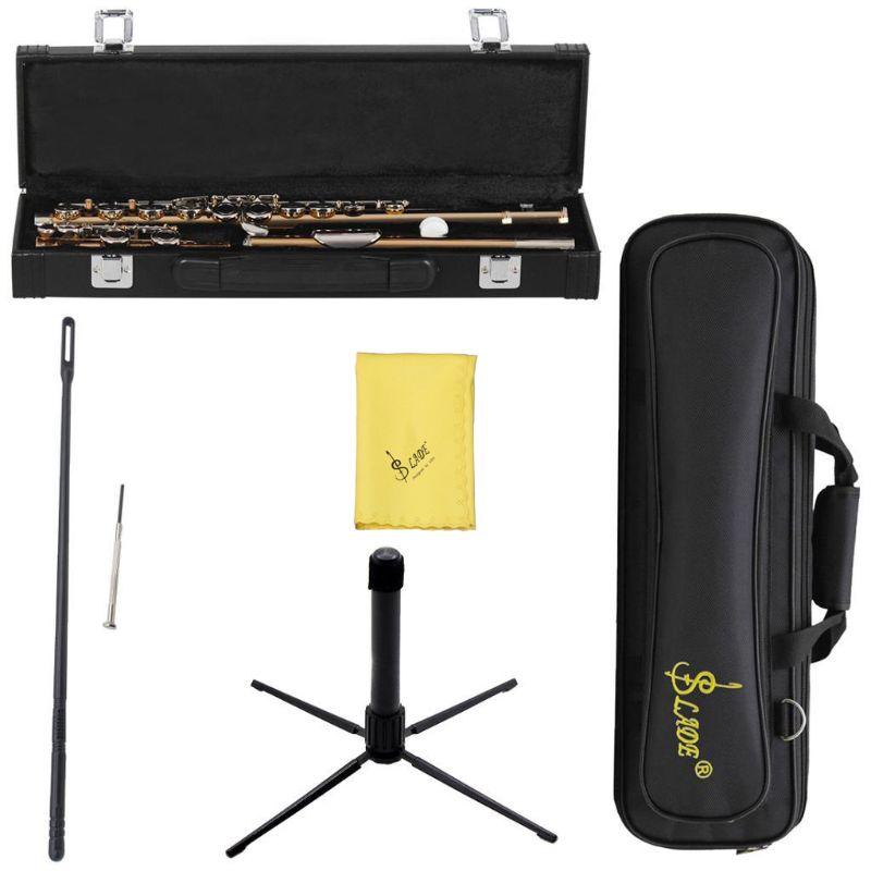 Gold 16 Holes C Key Flute Cupronickel Body Silver Keys with Storage Bag