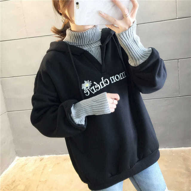 Autumn and Winter New Korean Version of Women's Hooded High Collar Fake Two Fashionable Tops with Plush Thickening for Students 4