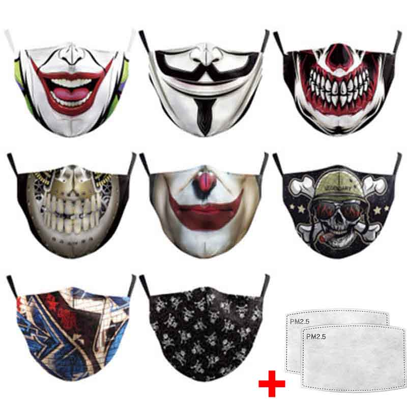 Cosplay Joker 3D Printed Repetitive Washable Mask Activated Carbon Filter Insert Protective Filter Media Insert For Mouth Masks