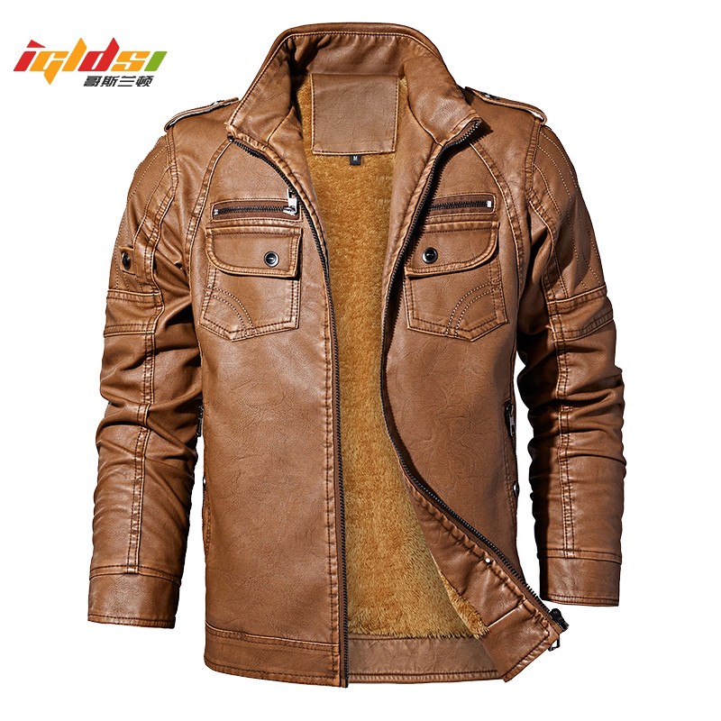 Men's Winter Leather Jackets Autumn Business Casual Thicken Fleece Coats Male Fashion Motorcycle Outwear Faux Leather Jacket