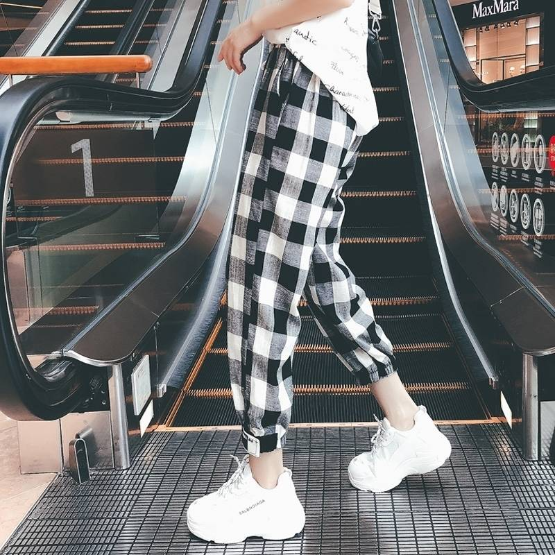 Korean Style Women Mid Waist Straight Plaid Print Ankle-Length Pants Drawstring Loose Pockets Trousers Female 2019 Autumn Girls