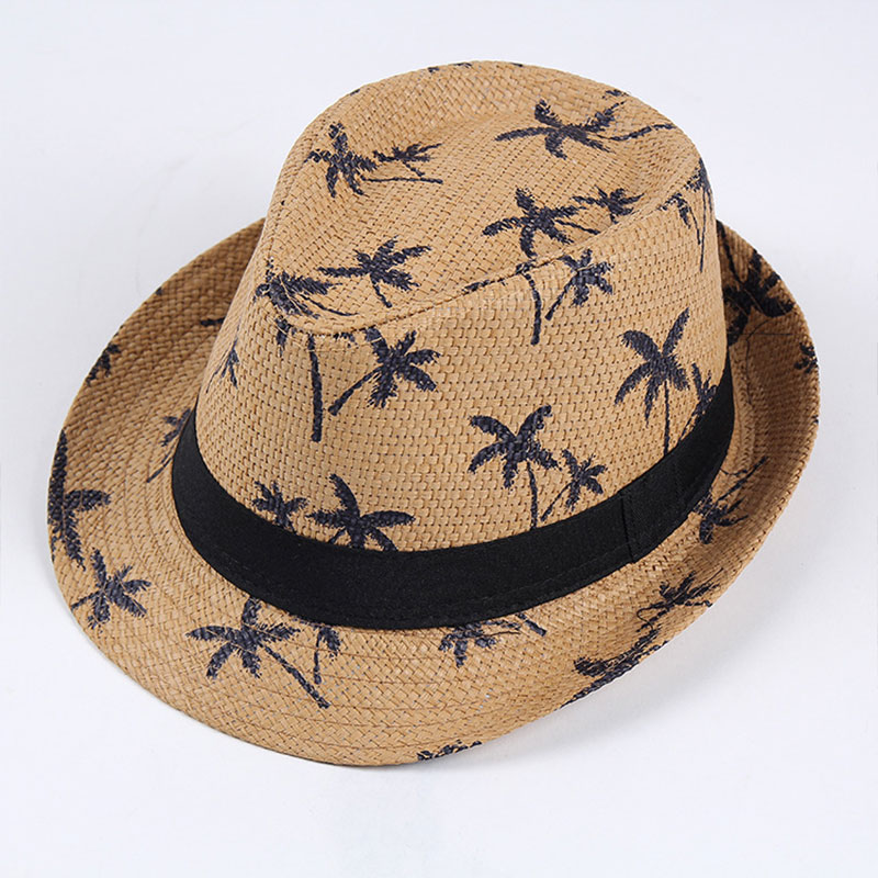 2019 Simple Fashion Sunscreen Summer Beach Hat Female Casual Panama Hat Jazz Men Printing Loose Straw Cap Flat Brim Sun Hat