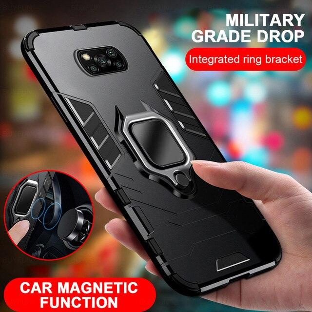 שריון עמיד הלם מקרה עבור Xiaomi Poco X3 פרו Pocox3 NFC Poko Pocco Pocophone X 3 Stand רכב מגנטי טבעת מחזיק קשה כיסוי Coque