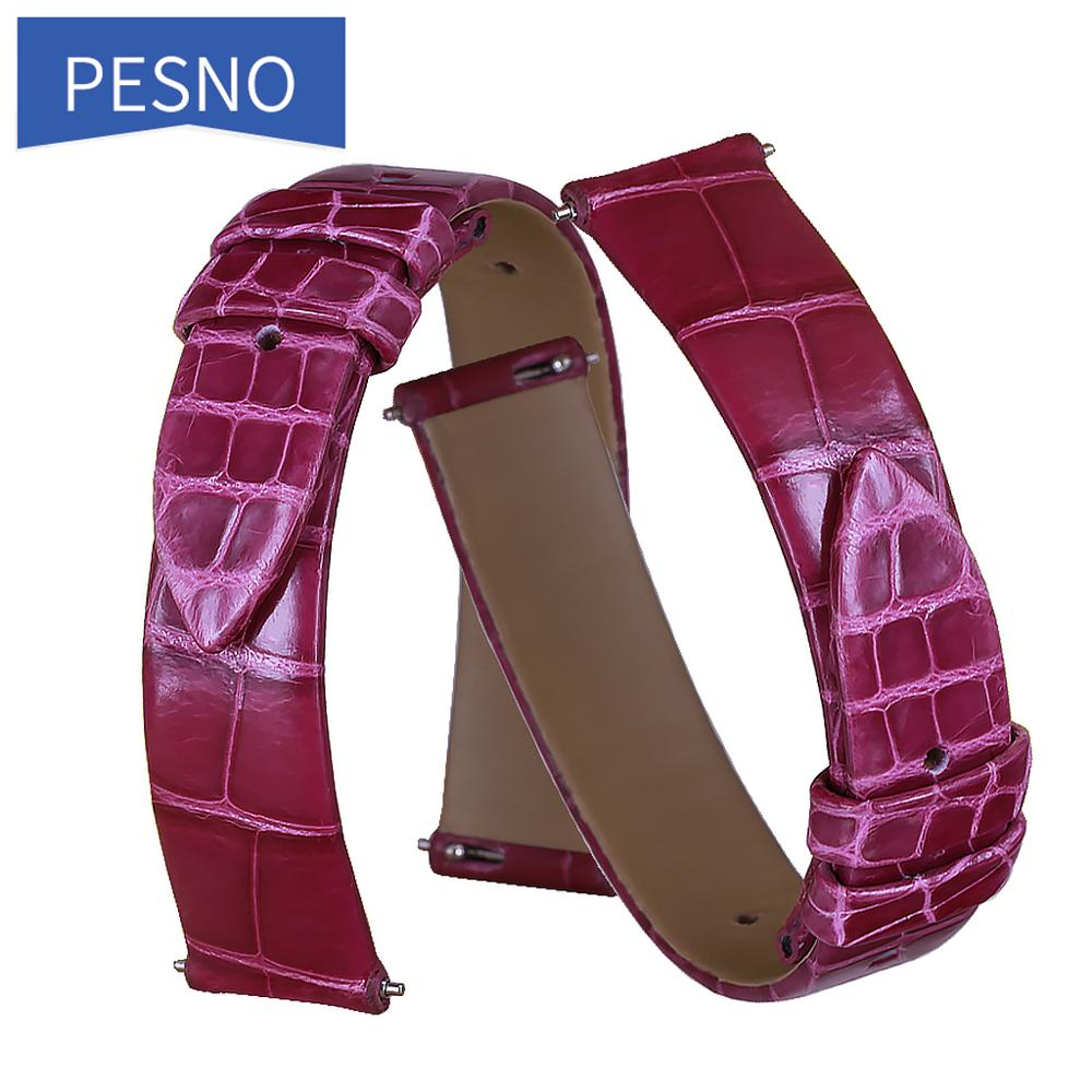 Pesno Alligator Skin Leather Watch Strap Women Accessories Watch Band Suitable for Jaeger-LeCoultre Q2568402/3448421/2655420