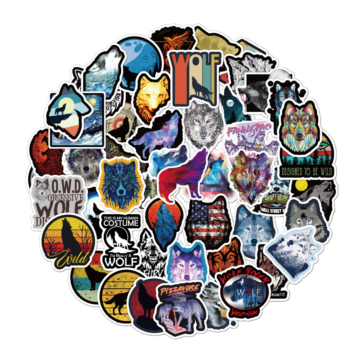 50Pcs/Set Wolf Stickers For Laptop Luggage Toys Car Motorcycle For Kids Car Stickers