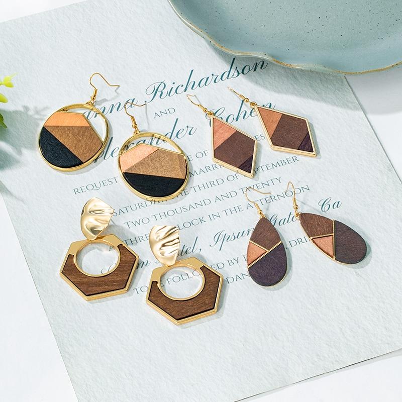 POXAM 2020 Boho Geometric Wooden Drop Dangle Earrings For Women Oversize Gold Fashion Big Earring Female Korean Vintage Jewelry