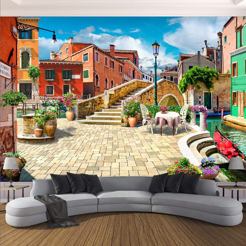 Drop Shipping Custom 3D Photo Wallpaper Large Mural European Town City Street Oil Painting Landscape Background Wall Mural