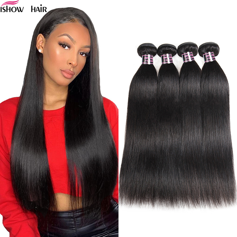 Ishow Indian Straight Hair Weave Bundles 100% Human Hair Extensions 1PC Non-Remy Hair Double Weft Natural Black Hair Bundles
