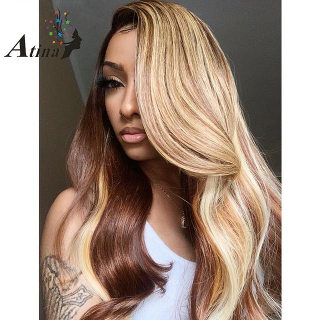 Ombre marrón rubio miel destacado Peluca de color 13x6 frente de encaje pelucas de cabello humano Body Wave Atina Full 360 Lace Frontal peluca Remy Hd