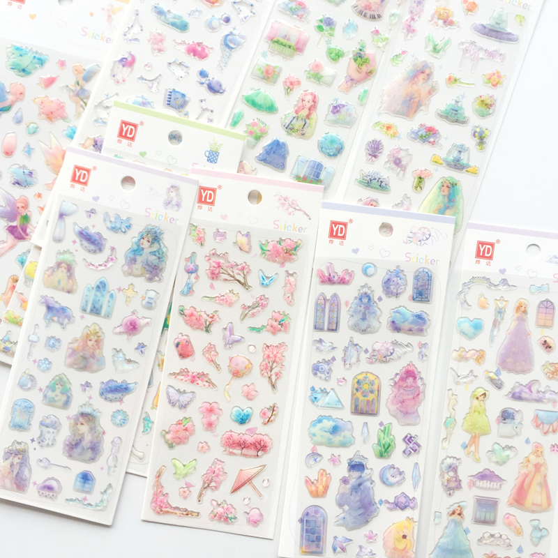 1 Sheet Crystal Princess Girl Castle Decorative Adhesive Stickers Decoration