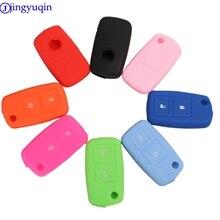 Jingyuqin 2 כפתורים סיליקון Flip מפתח Case כיסוי עבור פולקסווגן MK4 סיאט אלטאה אלהמברה איביזה פולו גולף 4 5 6 transporter Amarok שרן