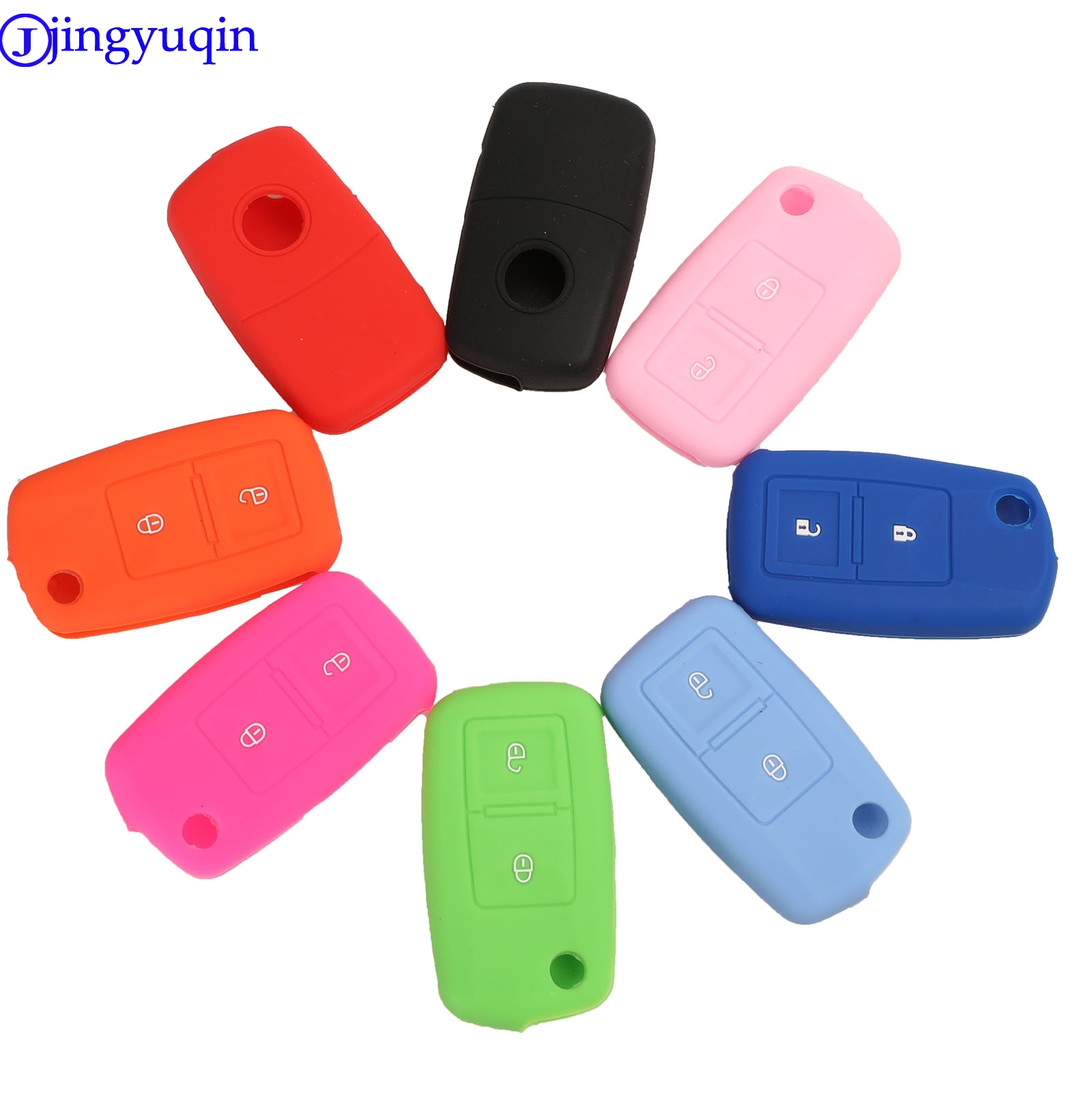 Jingyuqin 2 Buttons Silicone Flip Key Case Cover For Vw MK4 Seat Altea Alhambra Ibiza Polo Golf 4 5 6 Transporter Amarok Sharan