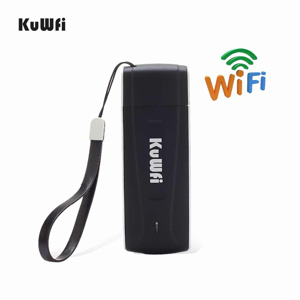 KuWFi USB 4G مودم LTE واي فاي دونغل موبايل واي فاي شبكة هوت سبوت صغيرة 3G 4G مودم شبكة WiFi جهاز توجيه ببطاقة SIM فتحة للسيارة في الهواء الطلق
