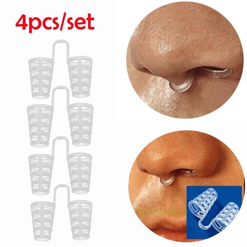 4pcs/Set Snoring Anti Snore Nasal Clip Dilators Breathe-Easy Stop Cones Congestion Aid Sleep Relieve Snore Device Health Care