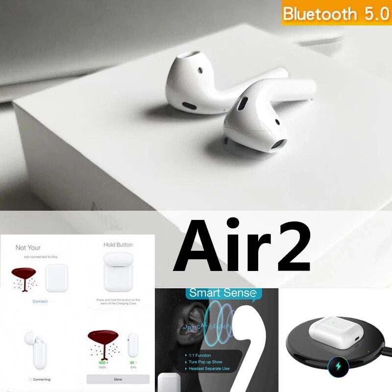 Original For Apple Airpods 2 1:1 Bluetooth Earphone Wireless Headphones 5D Super Bass Earbuds Pk I10000 I60 I80 I200 I500 Tws