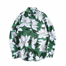 2019 Korea INS Hipsters Port Wind Retro Chic Coconut Leaf Shirt Men and Women Loose Hip Hop Couple Long Sleeve Flower 30CS