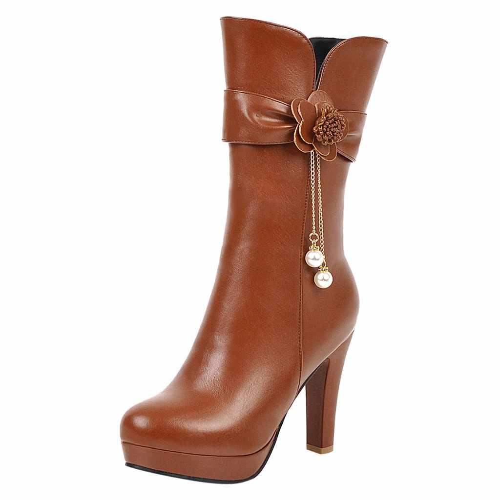 ฤดูหนาวรองเท้าส้นสูงรองเท้าบูทผู้หญิง Stiletto ส้นรองเท้าเซ็กซี่สุภาพสตรีดอกไม้ Pearl ต่ำรองเท้าส้นหนารองเท้าผู้หญิงรองเท้าหนัง