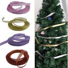 Recém natal metálico glitter fitas 2.5cm na largura para embrulho de presente árvore de natal decoração do quarto te889