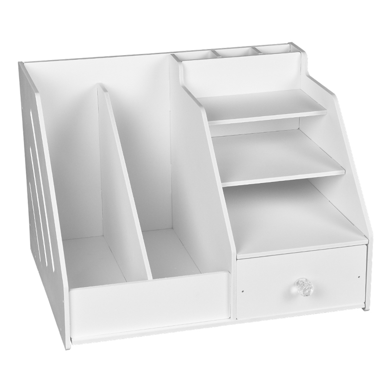 Multi Use Desktop Stationery Organizer Box with Document File Book Stand and Pen Holder Drawer Rack| |   - title=