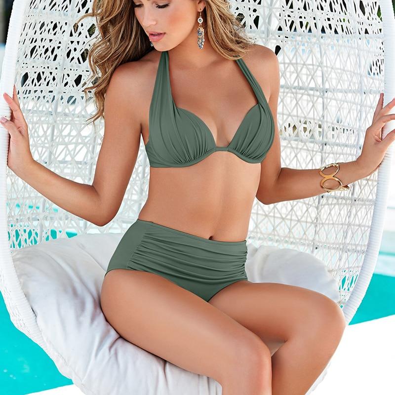2020 Sexy Green Swimsuit Women Bikini Push Up Swimwear Women Bathing Suit Halter High Waist Bikinis Set White Plus Size Swimwear