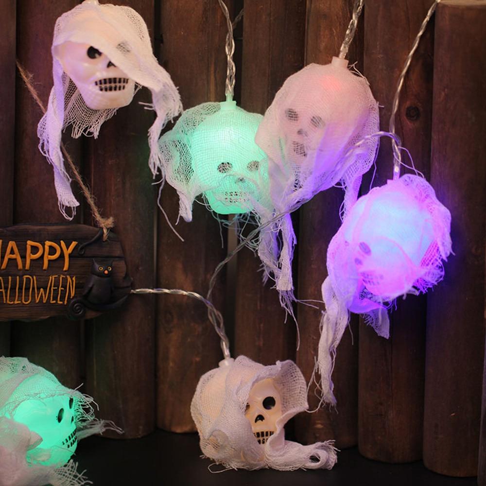 1.2M 10 Leds Happy Halloween Decorations Skull Ghost LED String Lights Horror Home Decor LED Garlands Garden Indoor Outdoor