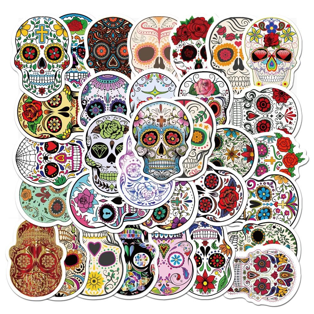 50PCS Horror Graffiti Cool Skull Stickers Waterproof PVC For Car Helmet Motorcycle Bike Laptop Guitar Classic Toy Sticker