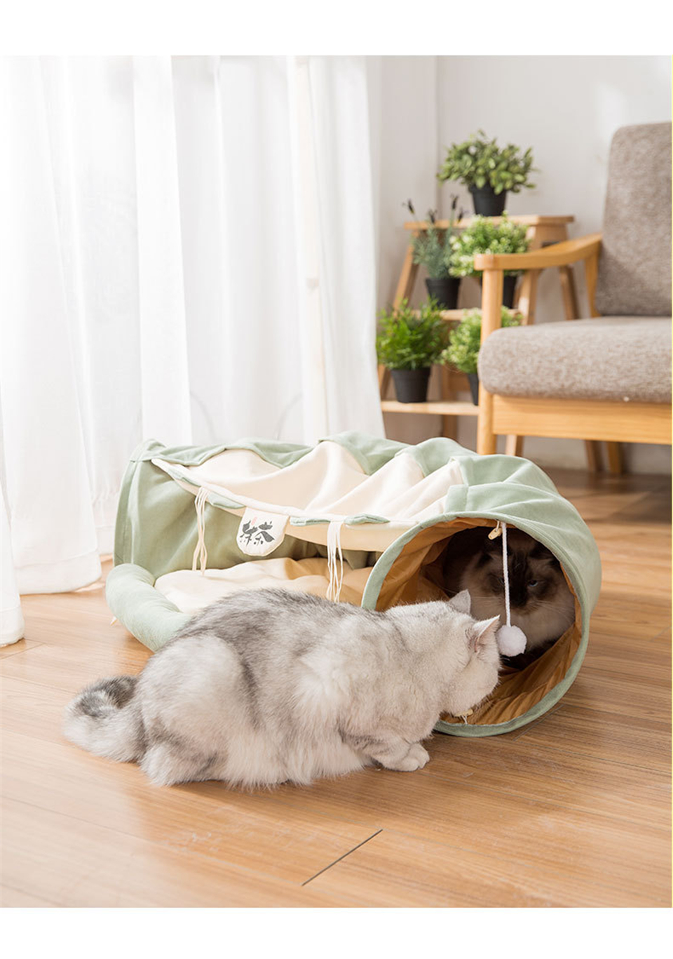 Funny Cat Tunnel bed Collapsible Crinkle Pet tent Kitten Puppy  Ferrets Rabbit interactive Toys 2 holes Tunnel  Pet cat nest 13
