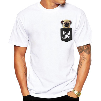 Cartoon <font><b>Dog</b></font> Pocket T Shirt Animal Graphic T-shirt Men/women Tops <font><b>Unisex</b></font> New Fashion <font><b>Tshirt</b></font> Harajuku Clothes Streetwear Tee image