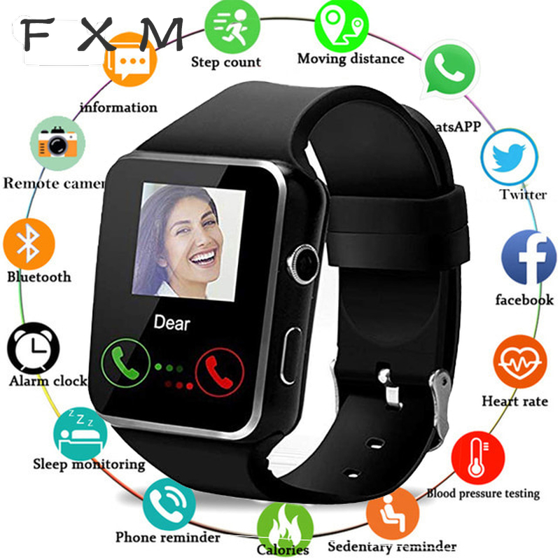 FXM Smart Watch Digital With Camera Support SIM TF Card Touch Screen Alarm Clock Sleep Monitoring Sports Watch For Kid Men Women