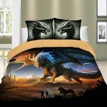Dragon ensemble de literie double pleine reine King Size ensemble de linge de lit 2/3 pièces animaux microfibre housse de couette ensemble avec oreiller Sham literie