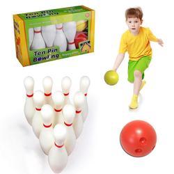 Crianças conjunto de boliche inclui 10 pinos e 2 bolas de boliche perfeito conjunto com caixa de armazenamento presentes para crianças treinamento interno meninos meninas