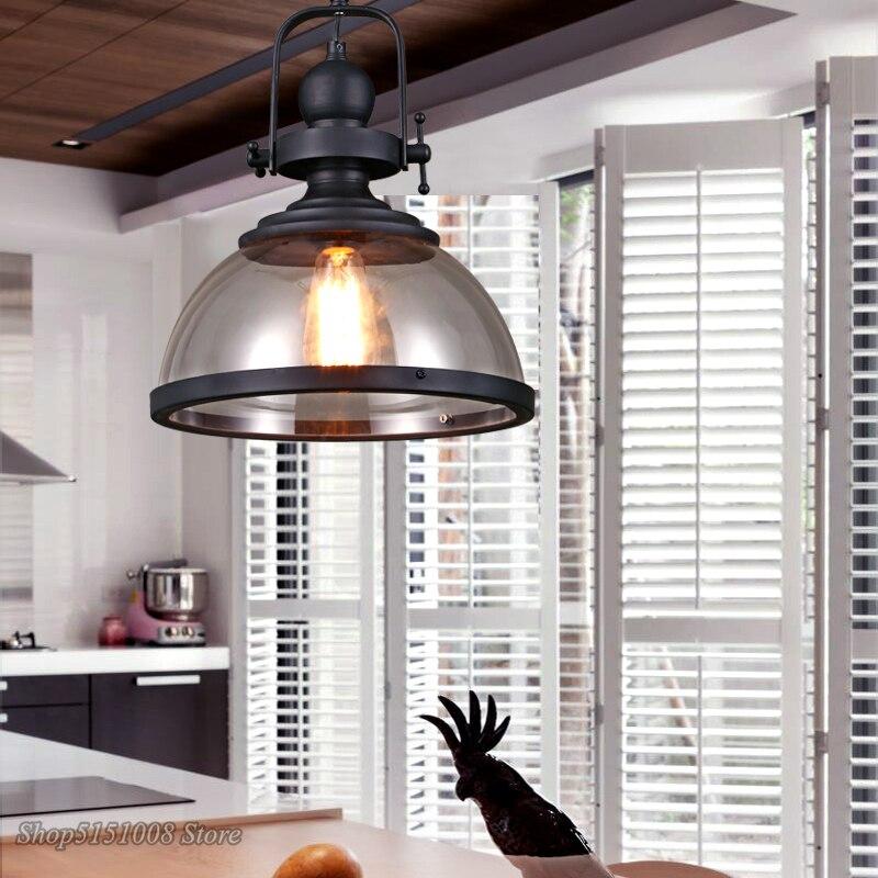 Лофт винтажные железные подвесные светильники промышленный Декор Подвесная лампа для столовой кухни дома осветительные приборы стеклянны... - 4