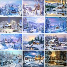 Winter snow scenery diy 5d diamond painting full round mosaic