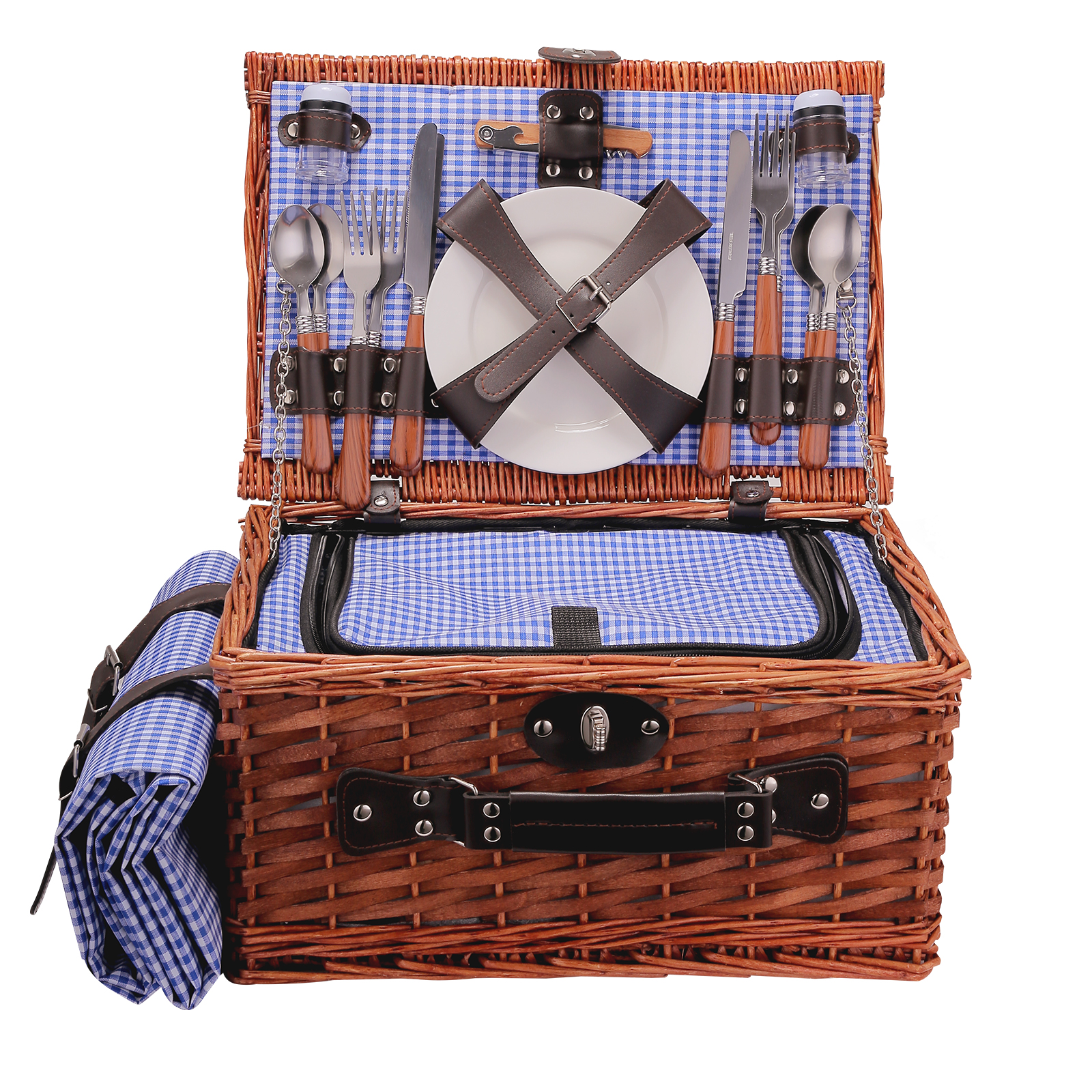 Suitable for 2 People Wicker Picnic Basket Outdoor Camping Lunch Box Set Ice Bag Insulation Portable Shopping Bag with Cutlery