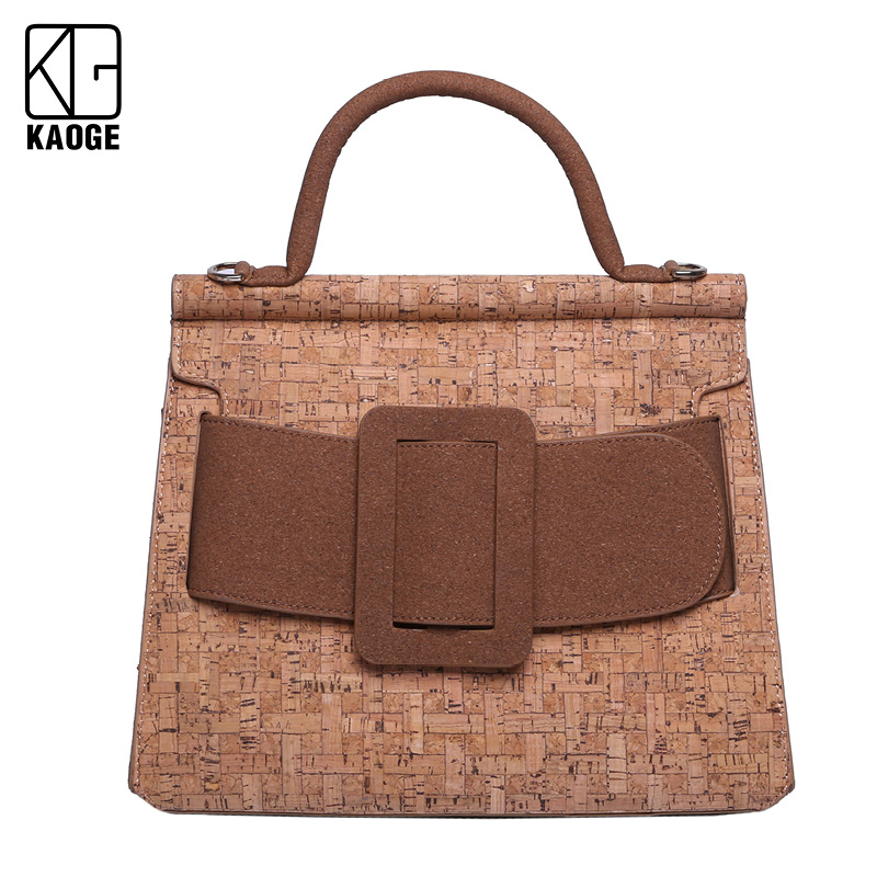 2020 Summer Fashion Women Bag Leather Handbags Natural Cork Shoulder Bag Small Flap Crossbody Bags for Women Messenger Bags