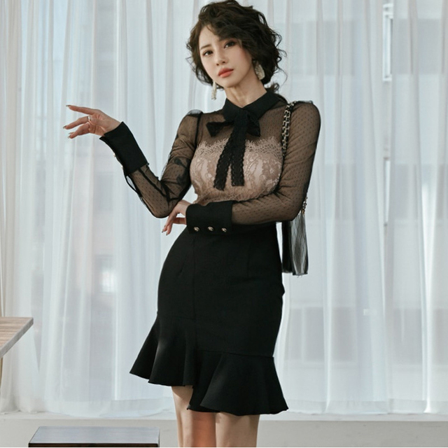 new arrival fashion korean spring mini party dress women OL temperament chiffon perspective sexy lace holiday asymmetrical dress 1
