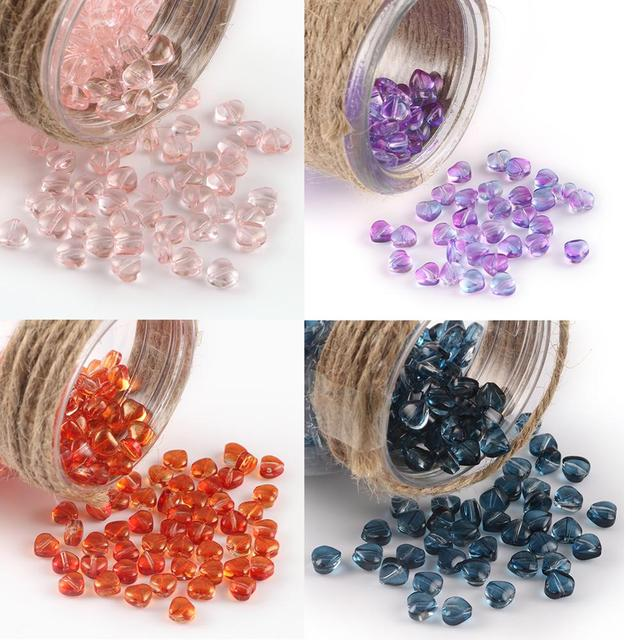 40pcs Wolesale Multi Gradient Color Heart Shape Spacer Glass Beads for Jewlery Making DIY Handmade Charm Bracelet Accessories