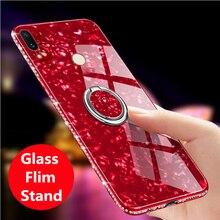 Para Huawei honor 8X6,5 pulgadas honor 8C lujo Bling Diamante de imitación dedo anillo Kickstand Conch Shell vidrio templado teléfono casos de la cubierta