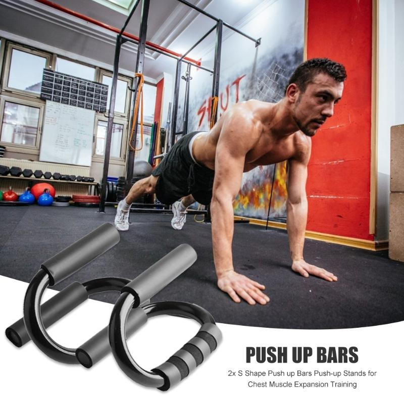 2pcs Black Color S-Shaped Push Up Bars Non-slip Practical Push-up Stands For Chest Muscle Expansion Fitness Training Accessories