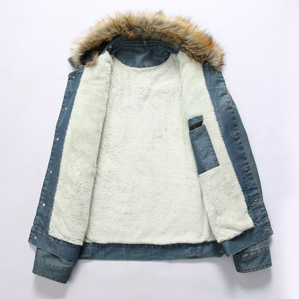 Hommes cou automne hiver Vintage en détresse Demin veste hauts manteau Outwear grande taille laine Liner plus épais hiver Denim vestes Y930 - 4