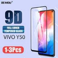Nuevo vidrio templado 9D para vivo Y50, Protector de pantalla de cobertura completa, vidrio templado para vivo Y50
