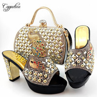 Most Fashion Black Pumps With Handbag Amazing High Heel Shoes And Bag Set With Peacock Design MD015 Heel Height 10.5cm