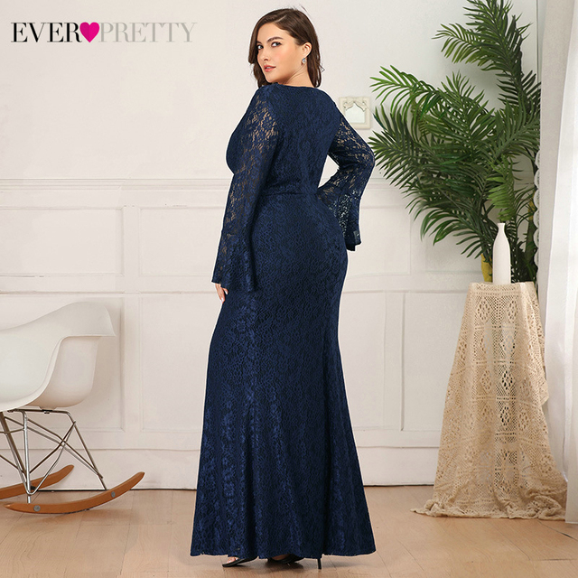 Plus Size Lace Evening Dresses Ever Pretty Mermaid Long Flare Sleeve O-Neck Ruffles Autumn Winter Long Party Gowns Abendkleider 1
