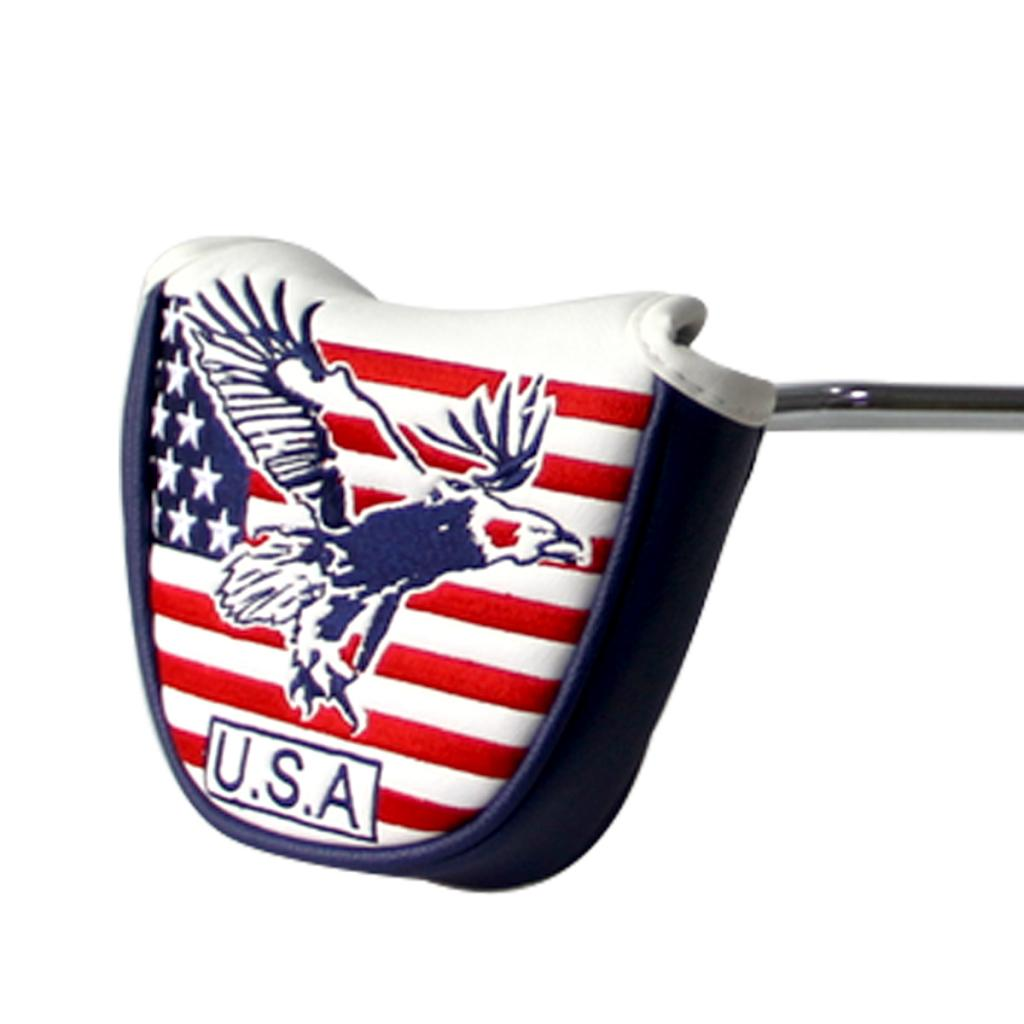 Big Teeth Putter Headcover Half Mallet Small Golf Head Cover Club Head Protector Magnetic Closure Leather USA Flag For Golfer