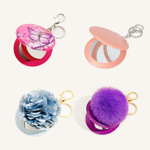 Keychain Charms Portable PU Cute Mirror KeychainBulk Hair Ball Butterfly Pattern Flower Accessories Makeup Mirror Keychain Ring(China)