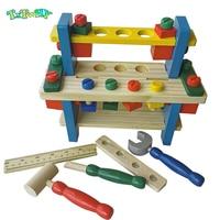 Montessori Wooden Tooling Toys For Boys Children Pretend Play Kids Preschool Toys Multi functional Joy Creative Tool Table