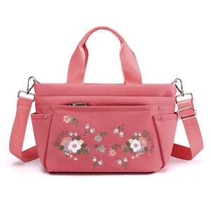 Новинка 2020, женские сумки через плечо с вышитыми цветами, нейлоновая женская сумка-мессенджер, Высококачественная дорожная сумка через пле...