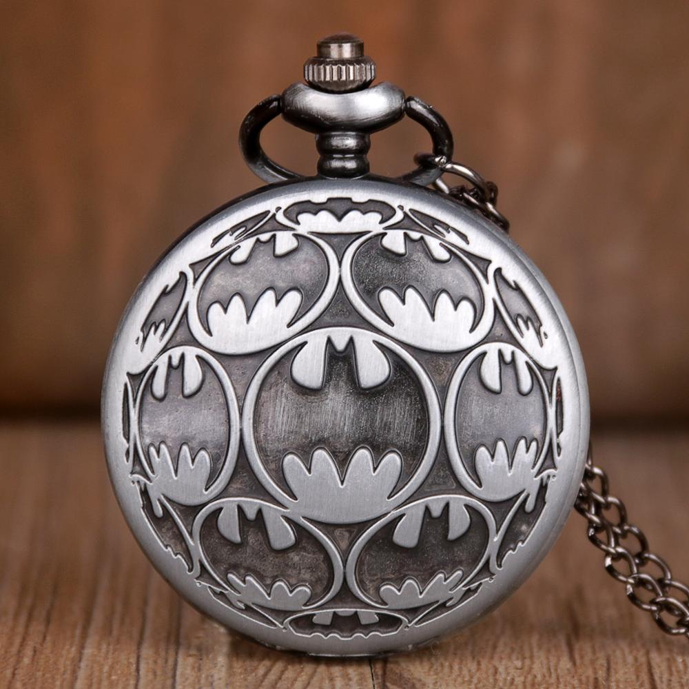 Black BM Batman Super Hero Movie Quartz Pocket Watch Analog Pendant Necklace Chain Pocket Watch Mens Women Watches Gift