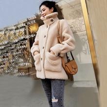 ksr683 女性冬服ナチュラル本物の羊ウールジャケットと厚い本物の毛皮のコートガール生き抜く